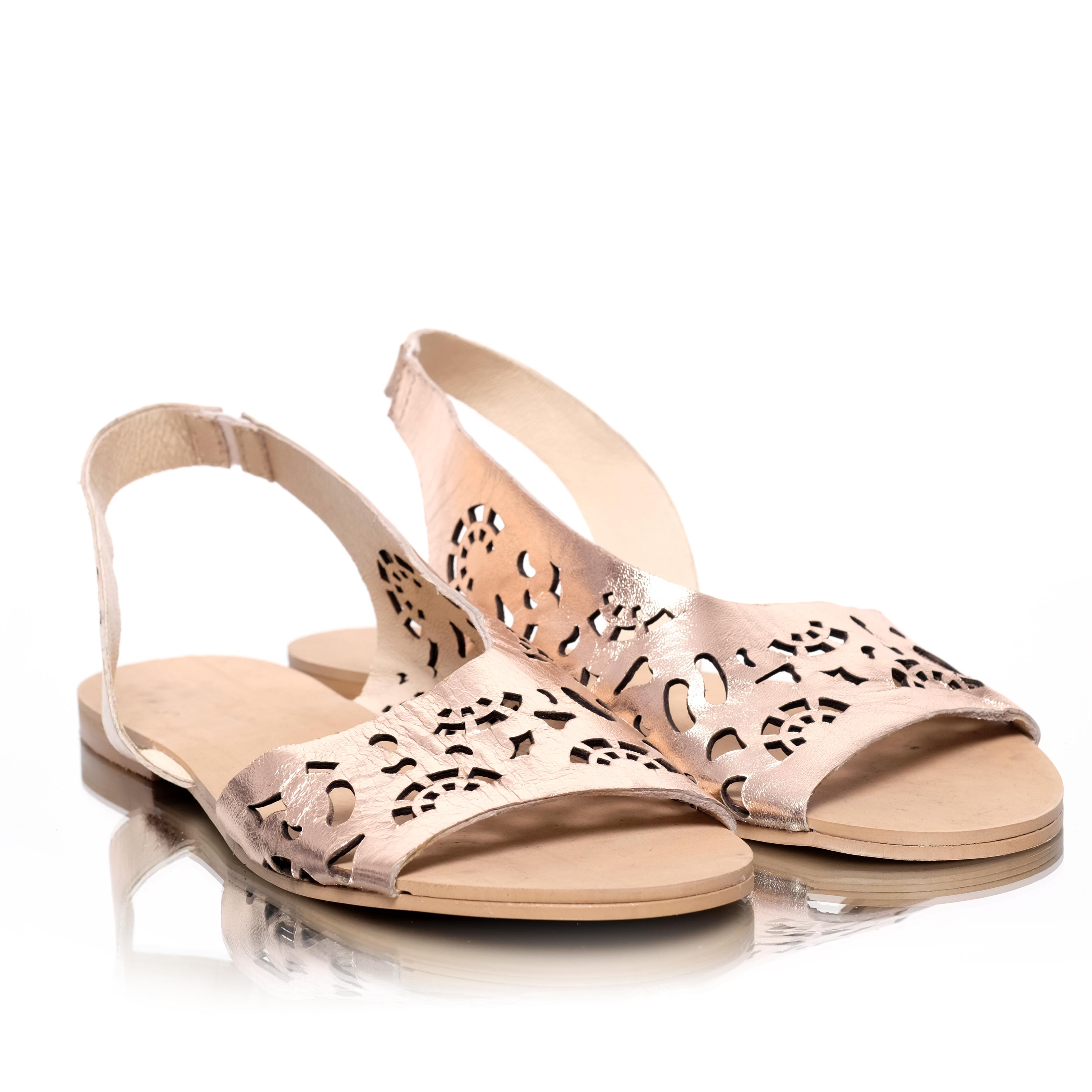 eaac8eb16e66 Sandale de dama metalizate din piele naturala cu talpa joasa Pantofini Agora