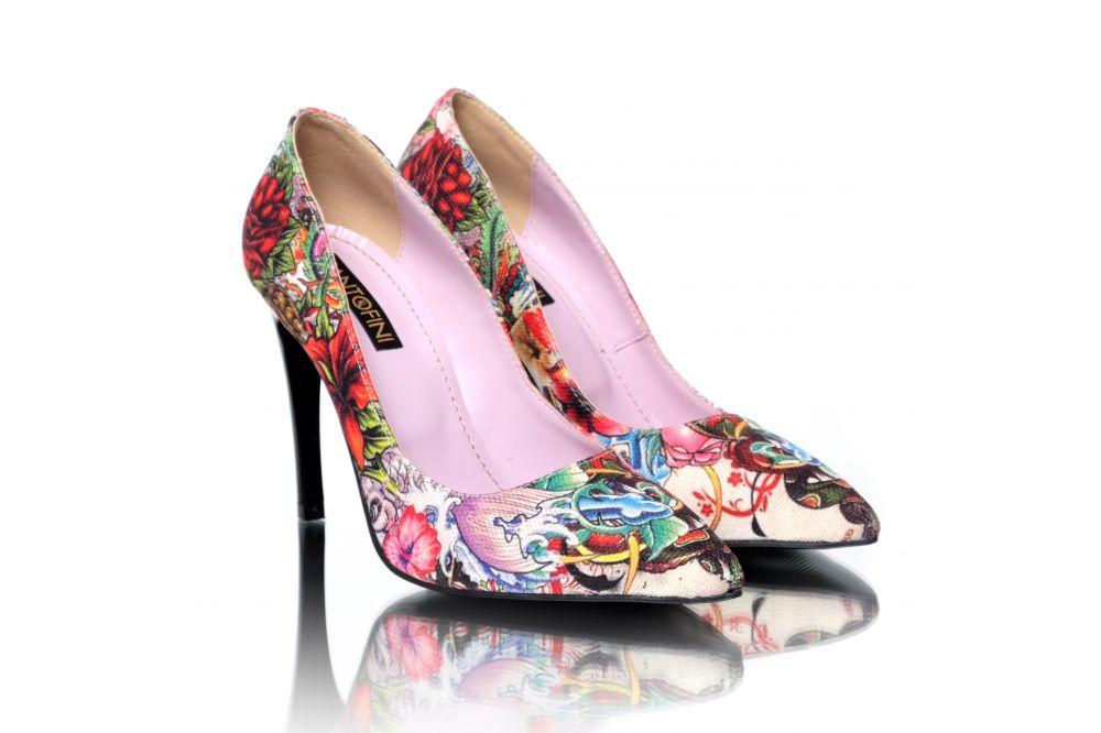 Pantofi lucrati manual cu imprimeu si interior din piele naturala