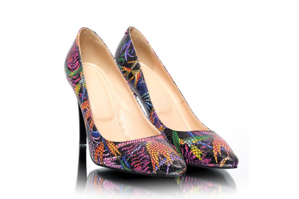Pantofi din piele naturala cu aspect croco Pantofini Exotique
