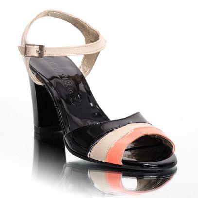 2eda24fd64 Sandale de dama din piele naturala lacuita cu toc Pantofini Lora  SL12   299.00 Lei